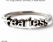 Sterling Silver Fearless word stack ring, Graduation gift, Inspirational jewelry, Statement Novelty Ring,  Halloween costume