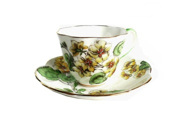 Vintage Salisbury Geranium Flower Fine English Bone China Tea Cup and Saucer