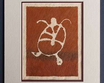 Turtle - Hawaiian Petroglyph Design  on Tapa Cloth - Matted and READY TO FRAME