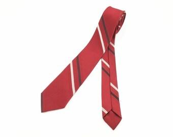 1950s Skinny Tie Men's Vintage Dark Red Striped Super Skinny Narrow Mad Men Era Mid Century Modern Necktie by Salem
