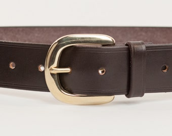 Dark Brown Bridle Leather Belt with 1.5 inch Horseshoe Buckle