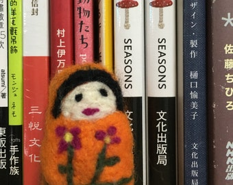 A Girl with a two Flowers Needle Felted Mini Art Doll