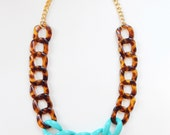 Tortoiseshell Statement Necklace turquoise necklace statement jewelry CALIFORNIA LOVE