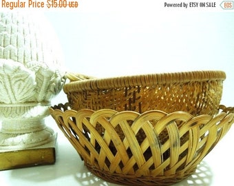 On Sale Price Vintage Basket Set. Instant Collection. Wicker baskets. French Country Home. Farmhouse Style.