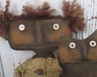 Made to Order~Primitive Grungy Folk Art~ Millie and Moe Doll Set ~HAFAIR