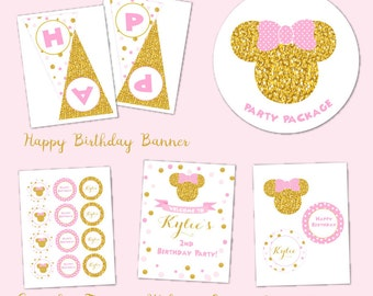 Minnie Mouse Birthday Party Package, Pink and Gold Minnie Mouse Birthday, Baby Minnie Mouse Party Package, DIY Printables, Party Pack