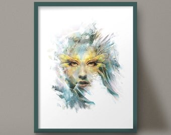 Art Print Female Face Watercolor Nature Beautiful Portrait Dragonfly Wings