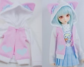 Slim MSD or SD BJD hoodie - Pink and White with Cat Ears Hoodie Jacket