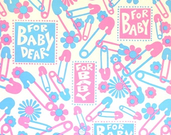 Vintage Mid-Century Wrapping Paper - Gift Wrap - For BABY DEAR - Diaper Pins and Flowers - 1960s