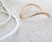 Rose Gold Ring - Rocking Wishbone - 9ct Rose Gold - Skinny Wishbone Ring