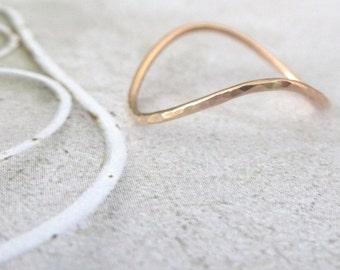 Rose Gold Ring - Rocking Wishbone - 9ct Rose Gold - Skinny Wishbone Ring