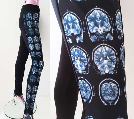 Brain Scan Leggings, Medical Chic, Geeky leggings, Physician Clothes, Neuroimaging, Black and Blue Leggings