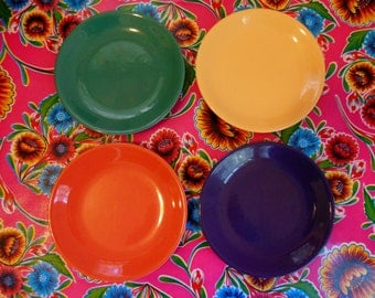 Set of Four Festive 1980's Colored Plates * Colored Dishes Plates * Modern Primary Colored Plate Set * Dinnerware Set