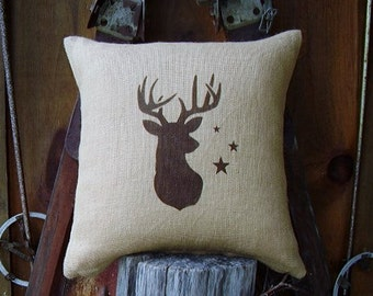 Burlap Pillows, Pillow Covers, Deer Silhouette Pillow Covers, Throw Pillows, Decorative Pillows, Outdoor Pillow, Rustic Pillow Decor