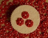 100 Red Royal Icing Drop Flowers Edible for cupcakes & cakes