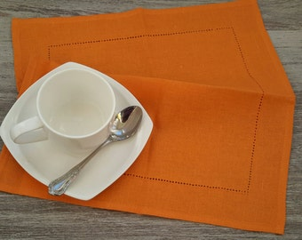 LINEN Napkins - ORANGE napkins - linen Napkin Set of 6, Table napkin, table linen, wedding napkins, dinner napkins, cloth napkins