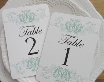 Wedding Table Numbers, Wedding Table Number Cards, Modern Elegant Damask Design #EL03. Available in two sizes.
