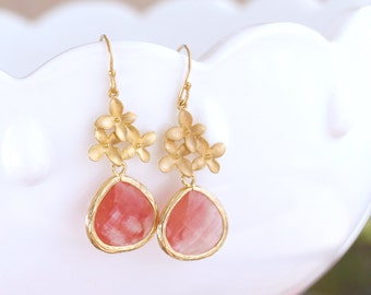 Coral Pink Drop Earrings in Gold - Cherry Quartz Flower Earrings - Pink Stone Earrings - Cherry Blossom - Bridesmaid Earrings