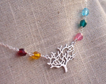 Family Tree Birthstone Necklace in Silver - Personalized Birthstones with Modern Tree Wire Wrapped Sterling Silver - Nature, Jewelry