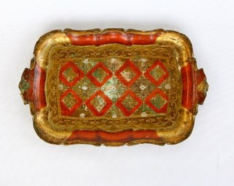 Florentine red and gold serving tray