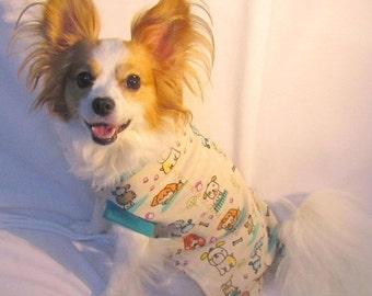 XS-L Soft Cotton Dog shirt Beige and Teal Dog print