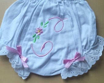 Eyelet Ruffle Monogrammed Baby Diaper Cover -Personalized Baby Bloomers -Great Gift!  Soo dainty!!