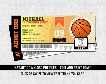 Basketball Ticket Invitations Birthday Party - (Instant Download) Editable and Printable PDF Files - Bonus Thank You Card