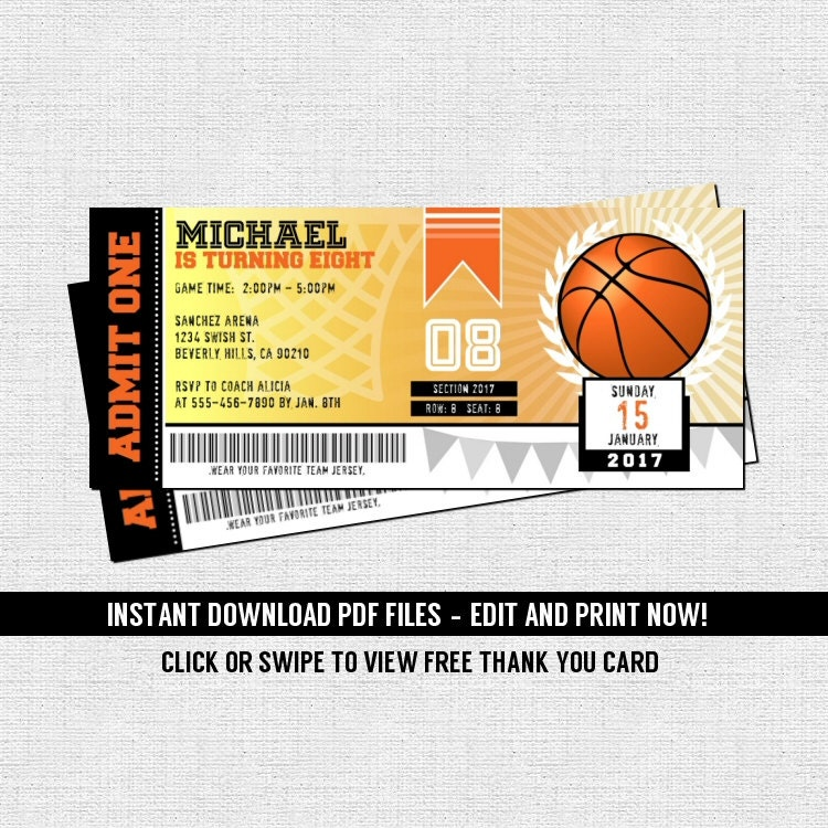Basketball Ticket Invitations Birthday Party Instant