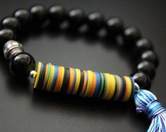 Colorful African bracelet vulcanite and onyx bracelet boho tribal bracelet tassel bracelet stretch stacking bracelet summer fun festival