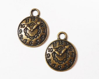 Bronze Clock Charms 15x12mm Antique Brass Metal Small Clock Charm, Timepiece Charm, Clock Pendant, DIY Jewelry Making, Craft Supplies 10pcs