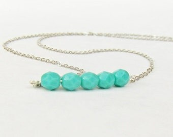 Valentines Day Gift Sale Mint and Silver Delicate Necklace - Minimalist Jewelry