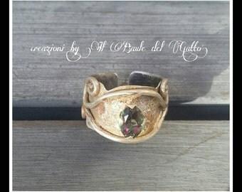 Olihmos, anello in argento e cristallo