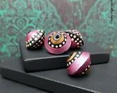 Handmade Polymer Bicone Bead Set - Pink Black Bronze Mocha Polka Dot - Moroccan Style Bead Set - 13mm - Pkg. 4