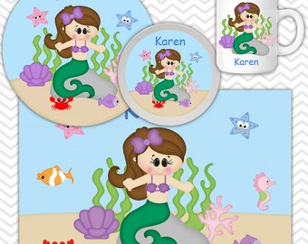 Under the Sea Plate, Bowl, Mug  Set - Personalized Princess Plate Set - Customized Plate, Bowl, Mug - Melamine Plate, Bowl & Set for Kids