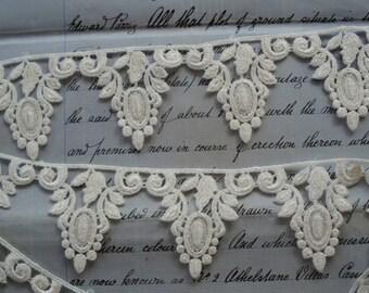 1y Vintage Venise Lace Oval Medallion Scrolls Leaf Garland Schiffli Embroidered Lace Applique Trim Wedding Couture Bridal Dress Sewing Trim