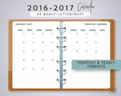 A5 2016-2017 YEARLY and MONTHLY Calendar - Printable Planner Inserts - Neat Theme - fits Filofax A5, Kikki K Large