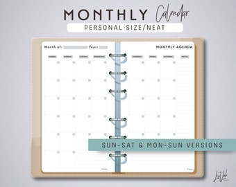 Personal Size 2-Page MONTHLY PLANNER - Printable Planner Inserts - Neat Theme - fits Filofax Personal, Kikki K Medium
