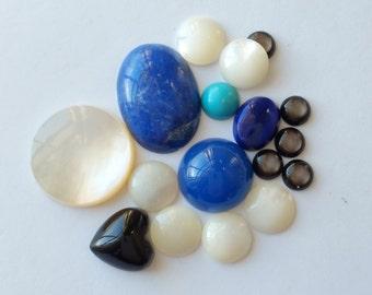 Assortment of stones onyx heart lapis turquoise mop