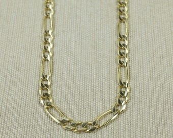 """Casual Stylish 14K Yellow Gold Unisex 4.6mm Wide Polished Alternating Figaro Link 21"""" Long Layering Chain Necklace 16.8 grams FREE SHIPPING!"""
