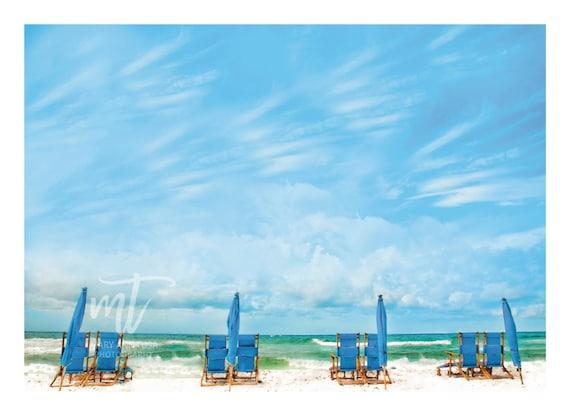 Seagrove Beach, Florida, Blue Lounge Chairs and Umbrellas on the Beach