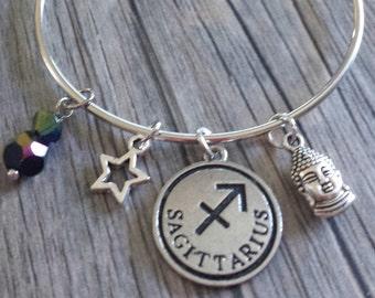 Sagittarius Charm Bracelet, Zodiac Bracelet, Charm Bracelet, Buddha Bracelet, Star Bracelet, Crystal Charm Bracelet, Silver Bracelet, Charms