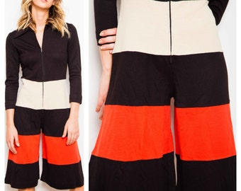 vintage 70s COLOURBLOCK collared winter weight culotte jumpsuit playsuit romper