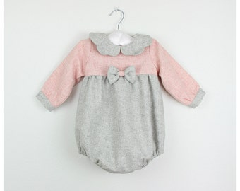 Girls long sleeve romper - Grey and pink wool blend romper with bow on the front