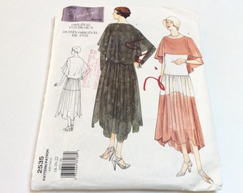 Vogue Vintage 1920s Dress Pattern, Vogue 2535, Original 1928 Vogue Design, Great Gatsby Dress, Uncut, Size 18 20 22