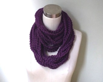 Purple Scarf Necklace . Long . Chain Scarf . Plum Purple Scarf . Chain Infinity Scarf . Long Scarf . Chain Scarf . Crochet Scarf