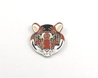 Tiger Pin, Enamel Pin, Tiger Jewelry, Enamel Lapel Pin, Tiger Mascot, Tiger Brooch, Animal Lapel Pin, Animal Jewelry, Enamel Badge, Fierce