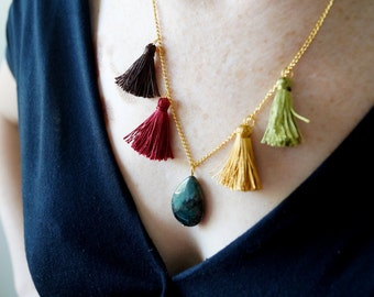 Teardrop Gemstone Tassels SUMMER NECKLACE/ dark green gemstone necklace, gold plated chain, dark brown coffee burgundy mustard green tassels