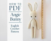 crochet pattern, Angie bunny, step by step US terms DIY pattern ready to download by CrochetObjet