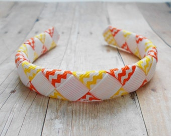 """Candy corn woven headband for American Girl and other 18"""" dolls"""