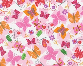 Jump Into Fun Butterfly's 15394-195 Bright Pink by Amy Schimier-Safford for Robert Kaufman